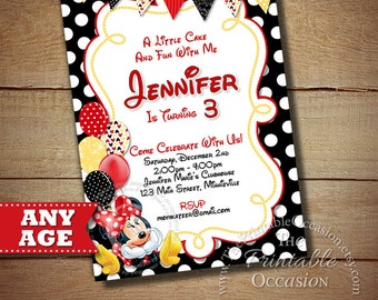 HUGE SELECTION Red Minnie Mouse Birthday Invitation, Red Polka Dot Minnie Mouse Birthday Invitation, Minnie Mouse Printable Invitation