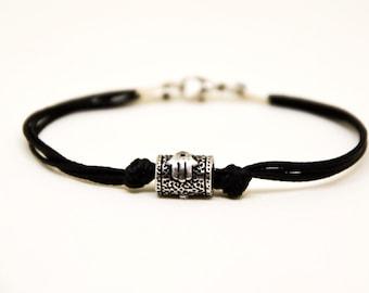 Hamsa bracelet for men, men's bracelet with a silver tube bead charm and a black cord, against evil eye, black bracelet for men, lucky charm