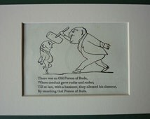 Vintage Edward Lear Limerick Print of the Old Person of Buda Victorian poetry art, nonsense poem decor - Available Framed - Edward Lear Art