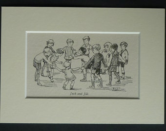 Antique Print of Children Playing Games - Available Framed - Antique Art - Antique Nursery Decor - Happy Childhood - Jack & Jill Party Games