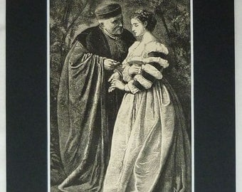 1860s Antique Victorian Print of a Priest Taking Confession from a Young Woman 19th century Catholic art, Victorian decor - Wood Engraving