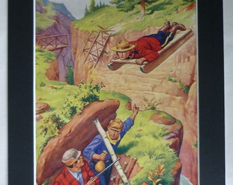 1950s Vintage Boys' Adventure Print of a Canadian Mountie Retro boy's nursery decor, Canada's mounted police force artwork - Canada Gift