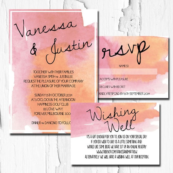 Wedding Invitation Watercolor DIY Printable Invitation