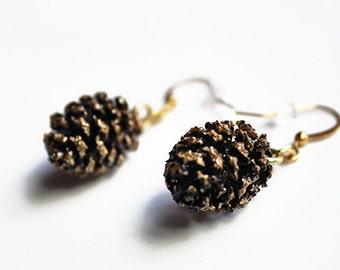 Real pinecone earrings, alder cone earrings, gold cone earrings, natural earrings, christmas gift, 5th anniversary, valentines gift