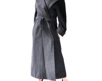 Ralph Lauren Full Length Coat | Camel Hair Black Top Coat w. satin Lining | Dressy Formal Winter Coat. Boho Duster Over Coat/ medium. large