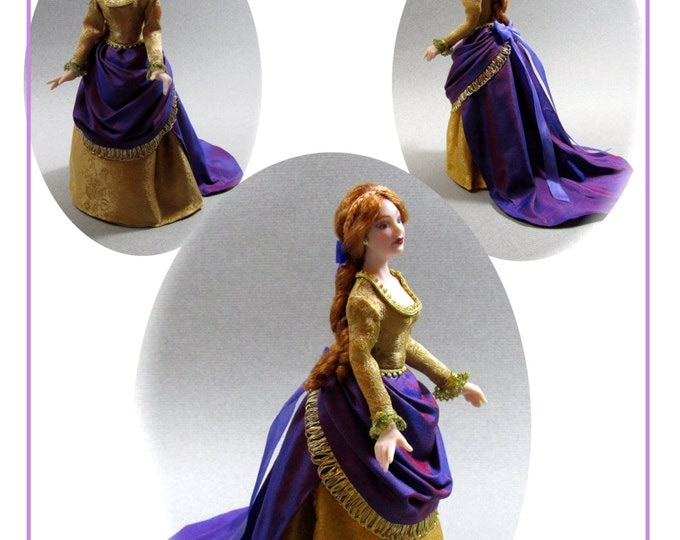Dollhouse Doll YVETTE VICTORIAN Lady Doll Pattern and Tutorial PDF Miniature Dollhouse 1:12 Scale Instant Download diy