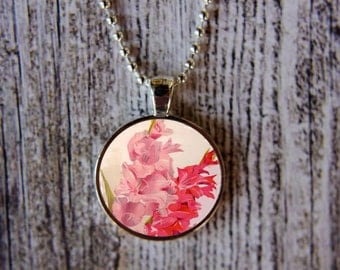 Gladiolus Necklace, August Birthday Necklace,Gladiolus Jewelry, August Flower of the Month,  August Birthday, Birth Month Necklace