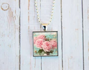 Shabby Chic Rose Necklace, Shabby Chic Rose Jewelry, Shabby Chic Necklace, Pink Roses Necklace, Pink Roses Jewelry