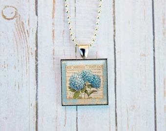 Hydrangea Necklace, Hydrangea Jewelry, Hydrangea Pendant, Gift Under 15