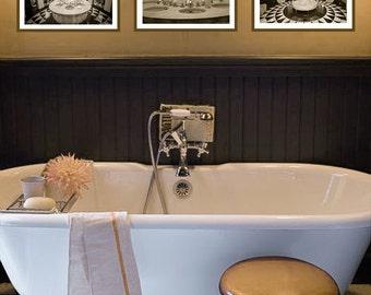 Sepia Paris Bathroom Set Set Of 3 Prints Paris Sepia 8x10 Prints Brown Art Deco