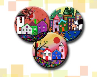 FUNKY HOUSES -  Digital Collage Sheet 1 &1.5 inch round images for bottle caps, pendants, round bezels, etc. Instant Download #215.