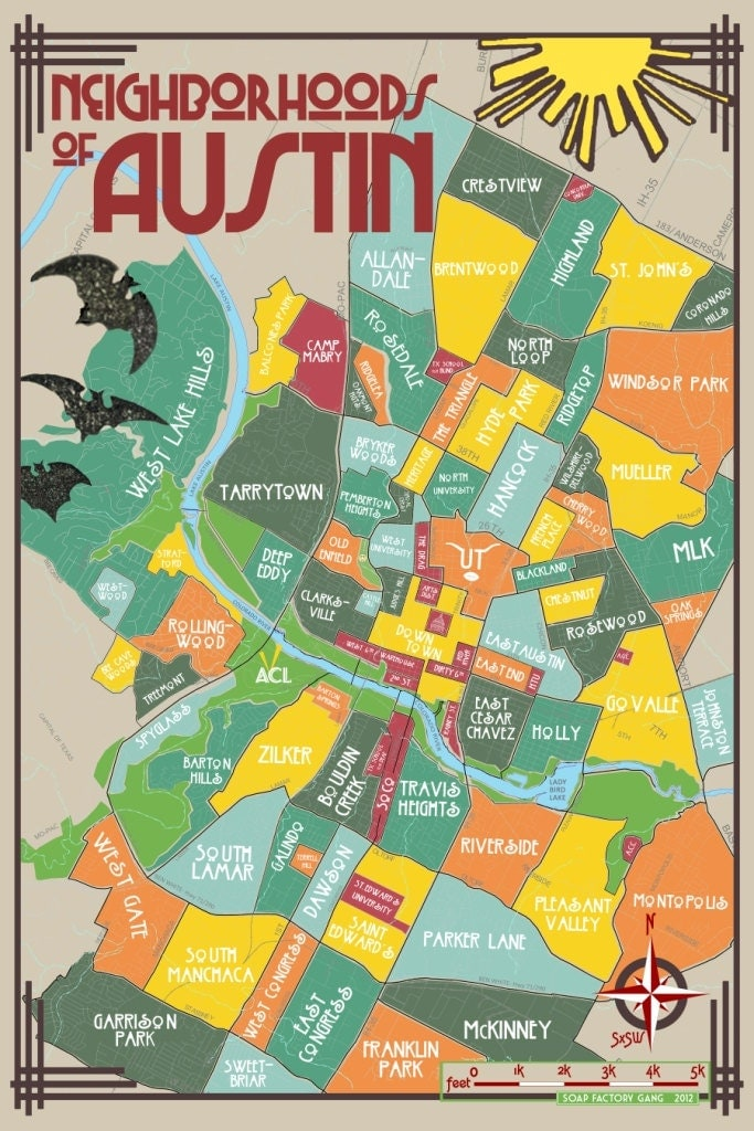 This is a picture of Sizzling Printable Map of Austin
