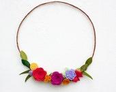 "Felt Flower Wreath - ""Bright Spring"" - You Pick Size"