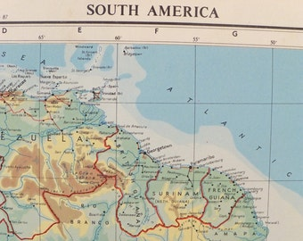 1951 South America Map, Large Vintage Map of  South America, old map, Transverse Mercator Projection map