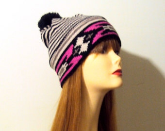 Ethnic Pom Pom Hat Tribal Knit Winter Hat Fair Isle Knit  Women Men Teen to Adult
