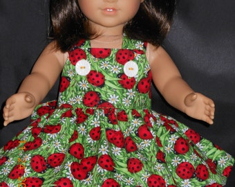 Lazy Dazy Ladybug, Doll Dress. Ladybug Dress, 18 inch Ladybug Doll Dress, 15 inch Ladybug Doll Dress, Custom boutique, Unique Handmade Dress