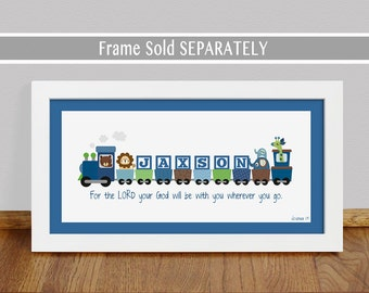 Personalized train etsy boys personalized train print with bible verse baptism gift nursery wall art dedication negle Gallery