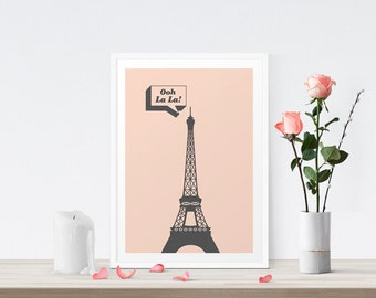 Paris Art Print, Ooh La La, Paris Bedroom Decor, Pink Print, Eiffel Tower Art, Parisian, Eiffel Poster