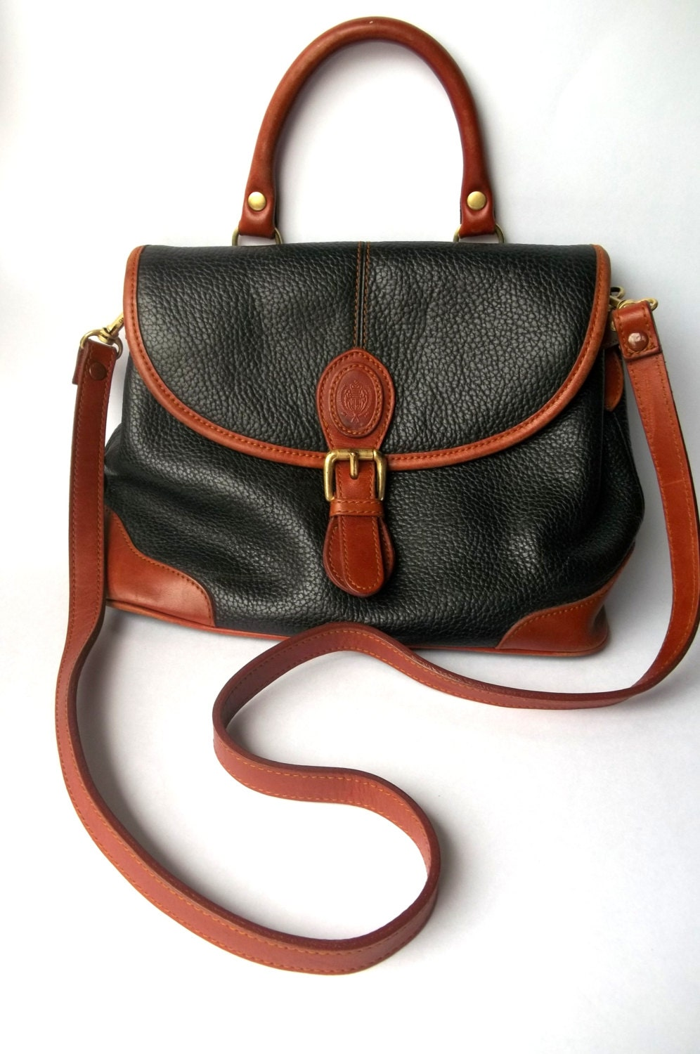 vintage liz claiborne leather crossbody bag black cognac