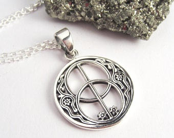 Peace Necklace - Round Symbolic Jewelry in 925 Sterling Silver
