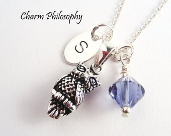 Owl Charm Necklace - 925 Sterling Silver Owl Jewelry - Personalized Monogrammed Initial and Birthstone