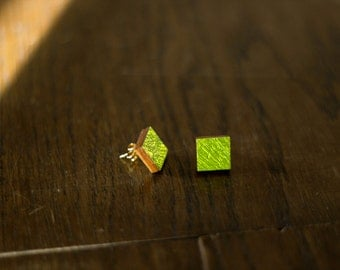 Green square Stud Earrings