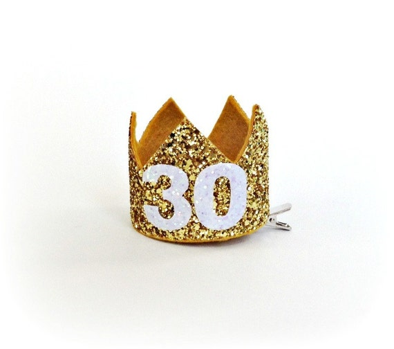 30th Birthday Crown Gold Glitter Crown First By