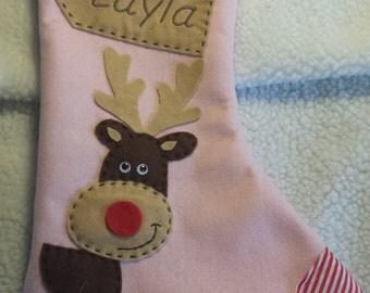 Personalized Christmas Stocking - Handmade - Pink Reindeer/ Rudolf