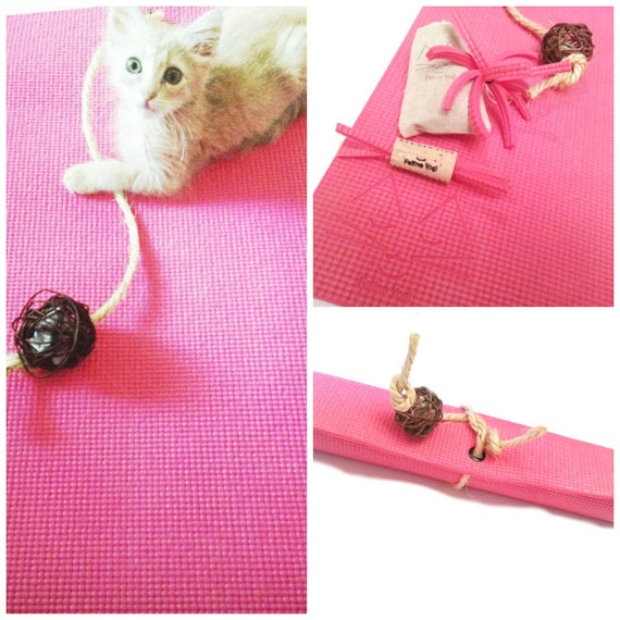Pink Yoga Cat Mat Toy Gift Set For Cats Cat Toys By FelineYogi