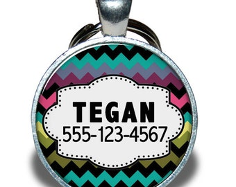 Pet ID Tag - Colorful Chevron - Dog tag, Cat Tag, Pet Tag