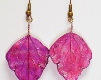 Earrings - Poplar leaves - Porcelain