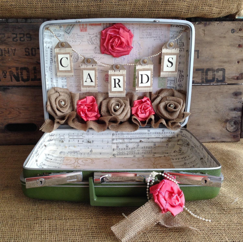 sale vintage suitcase wedding card holder shabby chic. Black Bedroom Furniture Sets. Home Design Ideas