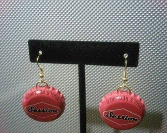 Recycled Session Beers Bottle Upcycled Bottlecap Earrings