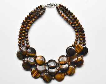 Tiger's Eye and Sterling Silver Chunky Bib Statement Necklace