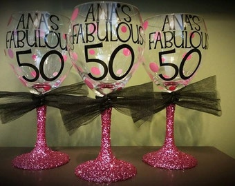 50th BIRTHDAY Personalized Glitter Stemmed Wine Glass FAVORS Birthday Celebration Party Favors