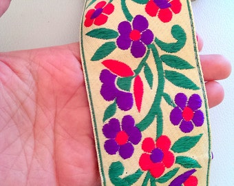 Beige Fabric Trim With Floral Embroidery, Fuchsia Pink, Violet And Green Trim, 62mm wide - 041203L54