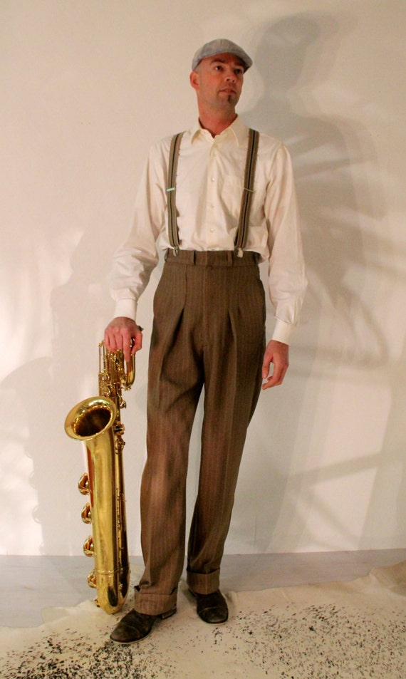 1930s Dresses, Shoes, Lingerie, Clothing UK 1940s mens pants 1930s high waisted slacks made to measure swing trousers made to order pants brown pinstripe bespoke lindy hop pants $329.48 AT vintagedancer.com