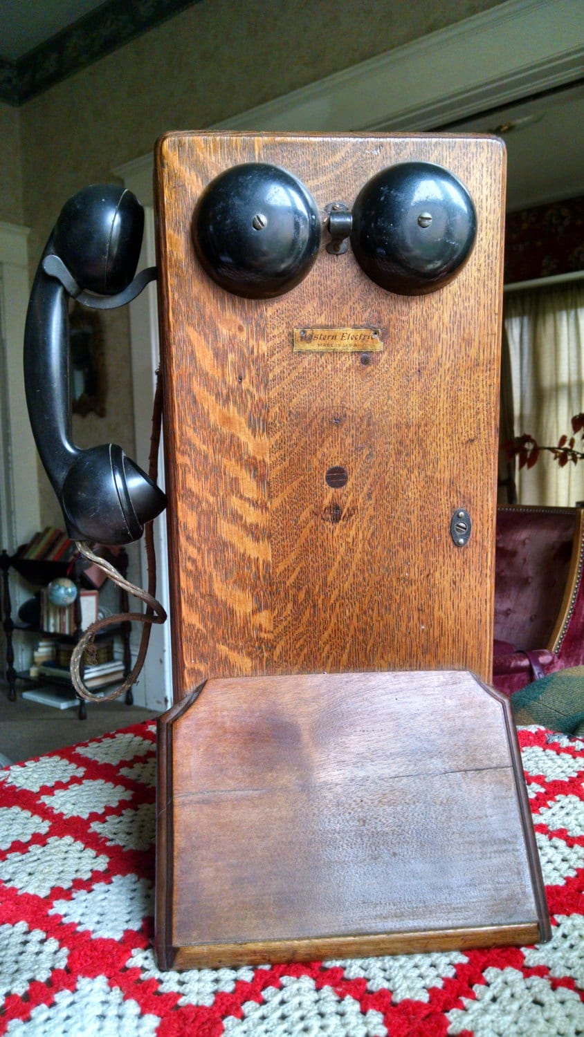 vintage phone early 1900s home decor by auntjeansvintage