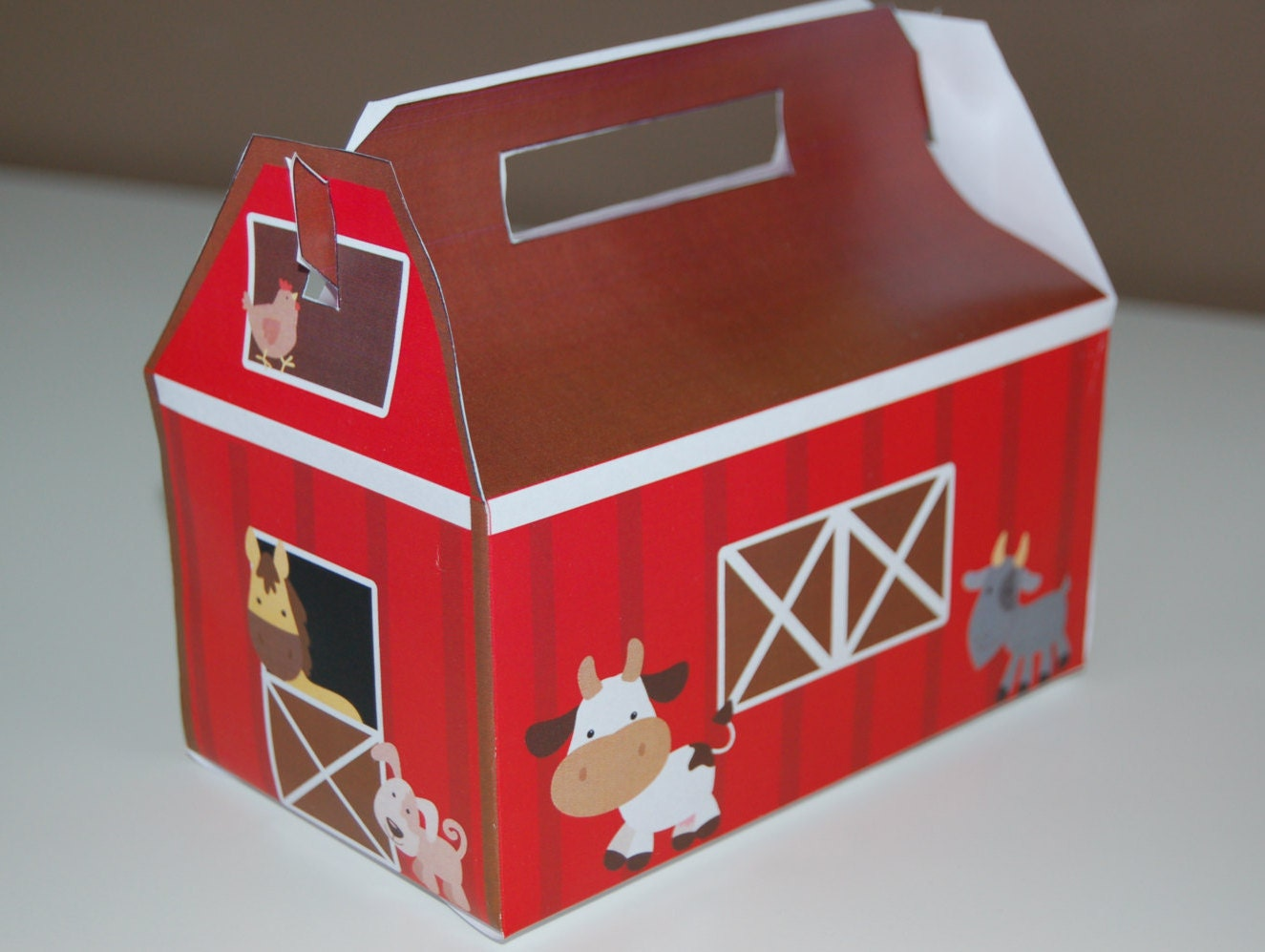 barn themed favor box farm animal treat box printable by