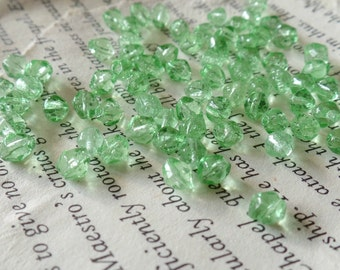 Green Glass Beads, 5mm, Clear, Faceted, Accent, Jewelry Making, Craft Supply, .039