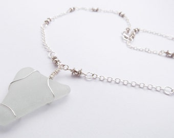 Sea Glass and Silver Bead Necklace