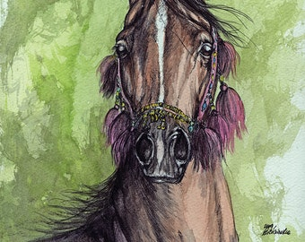Set of five fine art greeting cards with arabian horses
