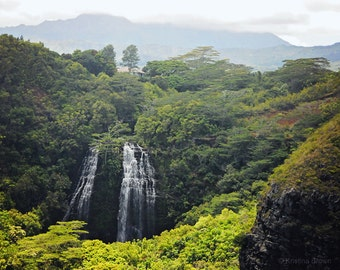 Nature Landscape Photography - Mountain Waterfall Photo - Relaxing Tropical Kauai Hawaii - Island Fine Art Print Photograph