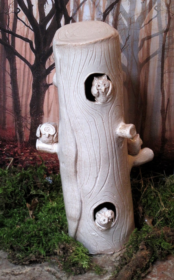 The tree of owls, ceramic sculpture, art pottery