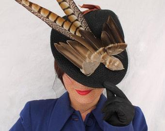 Custom Order: Vintage 1940s-Style Felt Fedora Tilt Hat with Faux Bird and Vintage Veiling