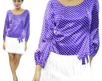 Vintage 60s Flapper-Style Go-Go Purple Polka Dot Short Skirt Party Mod Dress