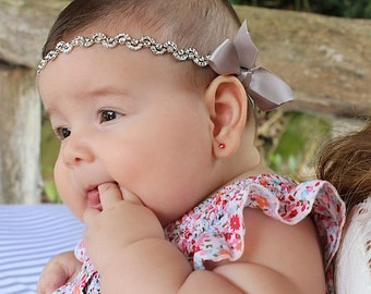 Headbands For Babies, Infant Headbands, Newborn Headband, Silver Baby Headband, Silver Halo Headband, Silver Headband