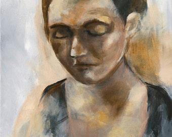 Portrait Painting Art Print, Woman Portrait, Acrylic Painting, 5 x 7 inches