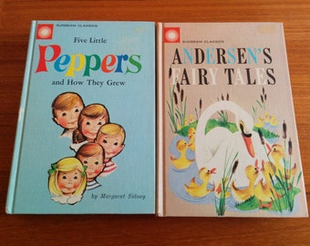 Two Rare Sunbeam Classics Books Five Little Peppers & Andersen's Fairy Tales