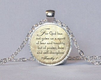 BIBLE QUOTE PENDANT 2Timothy 1:7 Scripture Jewelry Bible Verse Necklace New Testament Quote Bible Jewelry Christian Gift for Christian Cream